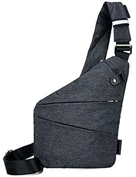 Bluelans Mehrzwecktaschen Herren Umhängetasche Brust Tasche Diebstahlschutz Motorrad Sling Schulter Pack, Polyester...
