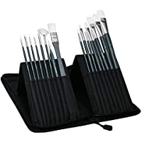 Artina Pinselset Malen Amsterdam – 17 teiliges Pinsel Set mit Tasche in Schwarz – Pinselhalter für Malpinsel Acrylfarben & mehr – Malpinsel Set groß mit Etui