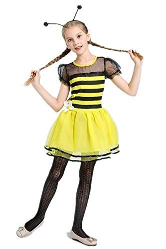 m - Hummel Bienen Kostüm für Kinder Mädchen Feen Tutu Rock Ballett Kleider Karneval Party Halloween ()