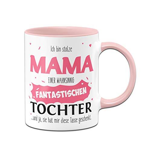 Tassenbrennerei Tasse mit Spruch Stolze Mama Tochter - Geschenk für Mama, Geburtstagsgeschenk und Muttertag - Tassen mit Sprüchen (Rosa)