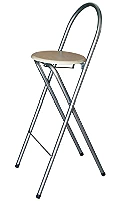KMH®, Practical Foldable Bar Stools with Beech Wood Decor (#204708) - cheap UK light store.