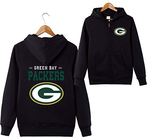 Bay-muster (ZXTXGG Männer 3D Hoodies Green Bay Packers NFL Football Team Uniform Muster Digitaldruck Strickjacke Reißverschluss Liebhaber Kapuzenpullis(XXXXL,Schwarz))