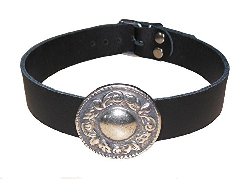 Handgefertigtes Premium Gothic Halsband Keltische Blume Mittelalter Echt Leder schwarz neu