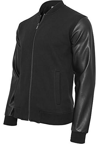 Urban Classics TB984Zipped Leather Imitation Sleeve Jacket, blk/blk, Small