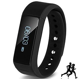 aigumi Wireless Fitness Schrittzähler Tracker Bluetooth Sports Armband Activity Tracker mit Schritte Zähler Schlaf Monitoring Kalorien Track für Sports Fitness gift-improve Ihr Fitness jetzt schwarz schwarz I5PLUS