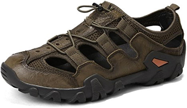 LEDLFIE Sandalen Mode Baotou Beach Schuhe Casual Herrenschuhe Khaki 40LEDLFIE Sandalen Baotou Herrenschuhe Khaki 40