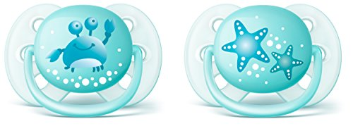 Philips Avent SCF226/20 - Pack de dos chupetes ultra suaves y flexibles, decorados, 0-6 meses, niño