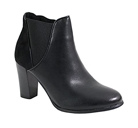 By Shoes - Bottine à Talon Haut Style Cuir - Femme - Taille 39 - Black