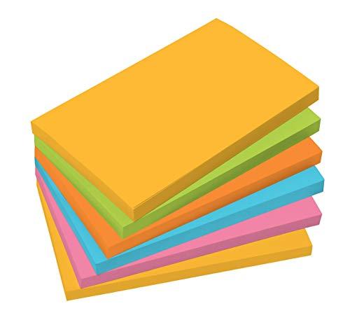 SIGEL MU121 Haftnotizen für agiles Arbeiten, 80% Klebefläche, 5 Farben (gelb, grün, orange, pink, blau), rechteckig, 12,5x7,5 cm, 6 Blocks à 100 Blatt