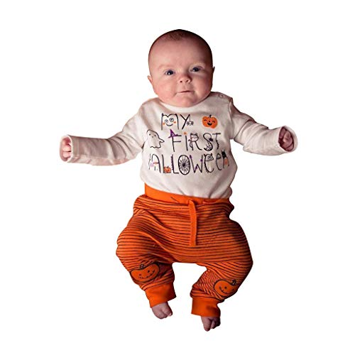 DOLLAYOU Babykleidung Set My First Halloween Junge Overall Kürbis Langarm + Hosen Gestreift Mädchen Kostüm Unisex 0-24 - Niedliche Zombie Mädchen Kostüm