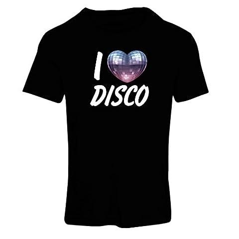 T-shirt femme I Love Disco - vêtements de musique rétro (Medium Noir Multicolore)