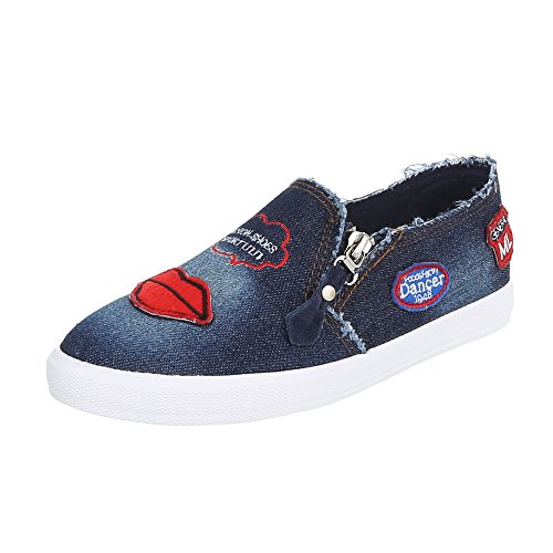Ital-Design - Pantofole Donna Dunkelblau R55-1