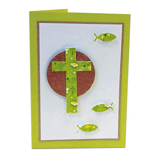 Kreativpapier - Bastelset aus Papier - Konfirmation/Kommunion/Firmung Faltkarte Maigrün - 10 Stück
