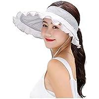 Protección UV Mujeres Visera del Sombrero Superior vacío Riza el Borde Ancho del Casquillo Plegable Beach (Color : Gray)