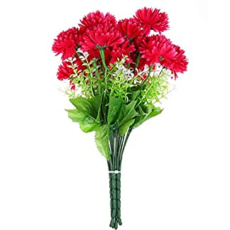 SunniY Margarita Artificial Flor Artificial Rosa roja crisantemo 6 Cabeza Boda decoración Familia Vestir