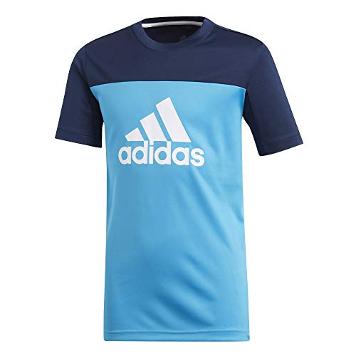 adidas Jungen Equipment T-Shirt, Shock Cyan/Collegiate Navy/White, 128