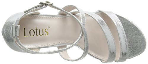 Lotus Gabby, Sandali Punta Aperta Donna Silver (silver Shimmer)