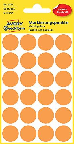 Avery 3173 Círculo Naranja 96pieza(s) - Etiqueta autoadhesiva (Naranja, Círculo, Papel, 1,8 cm, 96 pieza(s), 24 pieza(s))