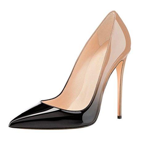 EDEFS Übergröße Damenschuhe Hohen Absätzen Pumps Spitze Zehen Extreme High Heels Beige