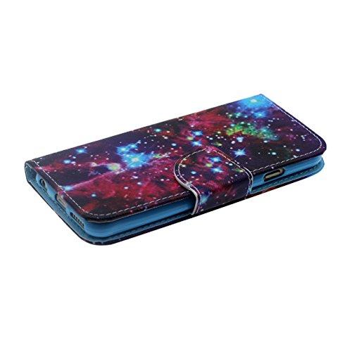 iPhone 6S Plus Portefeuille Bourse Rabat Coque Case de Protection, Original Créatif Peinture Serie ( Rouge Renard ) Souple PU Cuir Carte Étui de Protection pour Apple iPhone 6 Plus 5.5 inch violet