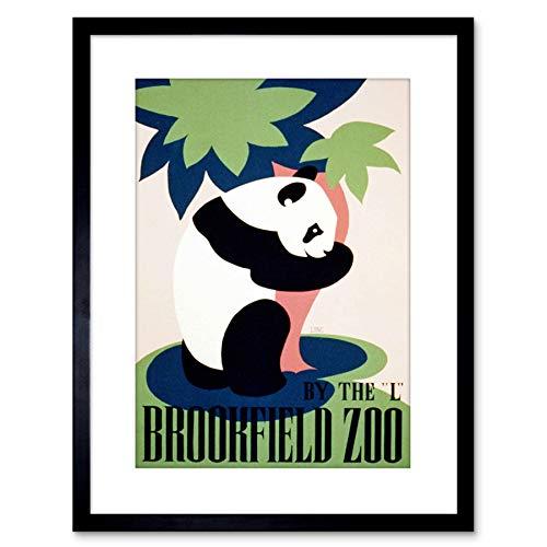 9x7 '' Cultural Advert Brookfield Zoo Panda USA Vintage Framed Art Print F97X261