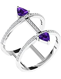 His & Her White Gold, Diamond And Amethyst Ring For Women