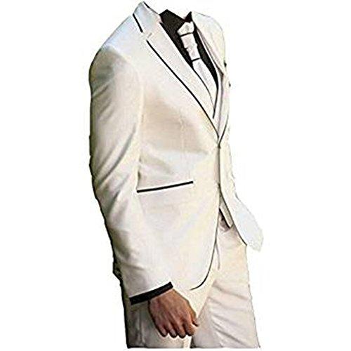 TPSAADE Slim Fit Peak Revers Beste Mann Anzug weiß/Elfenbein Brautführer Männer Hochzeit Abschlussball Anzüge Smoking Jacke + Hose + Weste ()