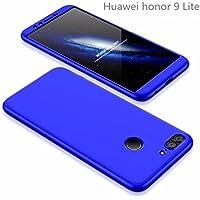Huawei honor 9 Lite Hülle 360°Schutzhülle AILZH PC Shell Anti-Schock HandyHülle Shockproof Ganzkörper Schützend Anti-Kratz Stoßfänger 360 Grad Full-Cover Case matte Schutzkasten 3 in 1(Blau)