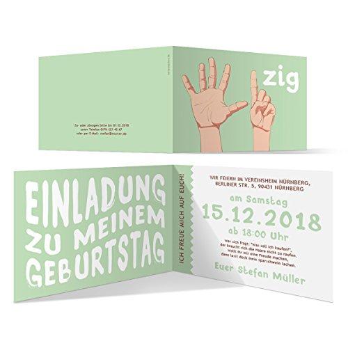 30 x Einladungskarten runder Geburtstag 60 Jahre Geburtstagseinladungen - Handzeichen