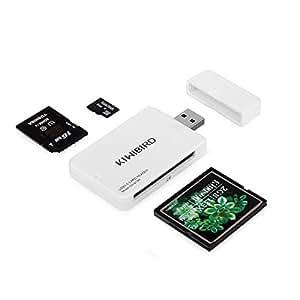 KiWiBiRD USB 3.0 (3.1 Gen 1) Lecteur de Carte Super Rapide 9-en-1 pour Cartes CF (UDMA), SDXC, SD, MMC, RS-MMC, SDHC, Micro SD, Micro SDXC, Micro SDHC [Soutient les Cartes UHS-I ] – BLANC