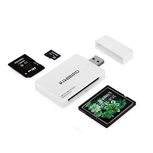 Kiwibird usb 3.0 (3.1 gen 1) lettore di schede super-speed 9-in-1 per schede cf (udma), sdxc, sd, mmc, rs-mmc, sdhc, micro sd, micro sdxc, micro sdhc [supporta schede uhs-i] – bianco