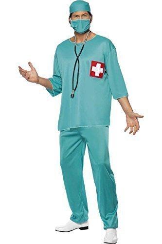 Herren Chirurg Arzt Medizinisch Uniform Scrubs Junggesellenabschied Knusper Dienstleistungen Kostüm Kleid Outfit - (Chirurgen Scrubs Kostüm)