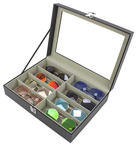 Paide Caja para Relojes y Gafas de Piel sintética - Estuche con 6 Compartimentos para Relojes y 3 para Gafas- Organizador de Relojes y Gafas (GF-01)