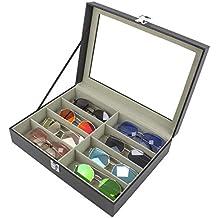 1b3ffa7417 Paide Caja para Relojes y Gafas de Piel sintética - Estuche con 6  Compartimentos para Relojes