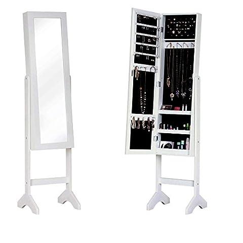 WarmieHomy Jewellery Cabinet Armoire with Dressing Mirror Floor Standing Storage