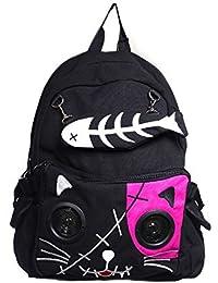 db25171acb22a Lautsprecher Rucksack Tasche von Banned Apparel Kitty Ohren AUX universell  3.5mm Jack