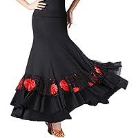 Baoblaze Jupe de Danse Flamenco à Longue à Paillettes Valse Broderies  Florales Swing Plein Cercle Costume 95087978435