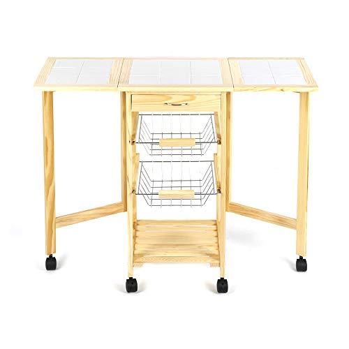 Flyelf carrelli da cucina portata pieghevole conservazione, piano del tavolo è realizzato in legno e ceramica,con 2 cestelli in metallo e 1 cassetto
