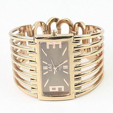 Quarzo fascia della lega cassa in oro rettangolo orologio da polso analogico delle donne ( Colore : Oro rosa )