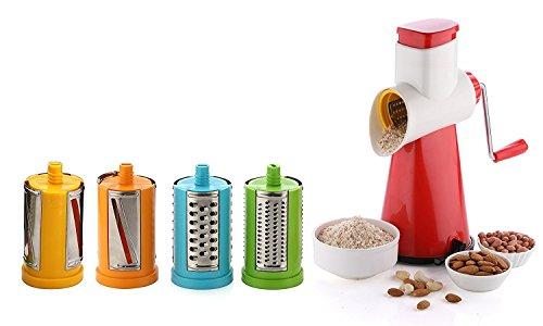 Magneitta Kitchenware Famous 5 In 1 Drum Grater Shredder Chopper Slicer For Vegetable, Fruits, Chocolate, Dry Fruits, Salad Maker With 4 Different Attractive Drums