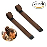 Bestidy 2PCS Donne Capelli Parrucca Hairdisk Creatore Del Panino French Twist Hair - Donut Hair Bun Maker Styling DIY Strumento (Brown)