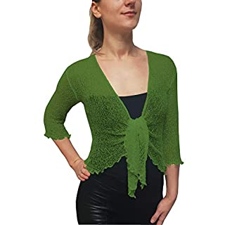 Mimosa Ladies Crochet Glitter and Plain Stretch Lace Fish Net Bali Tie at Waist Bolero Shrug Open Cardigan (One Size fits UK 8-16, Apple Green)
