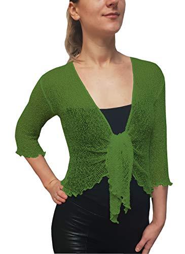 Mimosa Damen Crochet Strecken Fisch-Netz Boleroshrug Mutterschaft Krawatte an der Taille Cardigan (Eine Größe passt DE 34-48, Apple Green) (Netz Strümpfe Fisch)