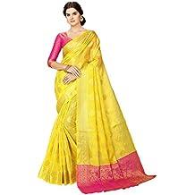 Glory Sarees Women's Maheshwari Silk Fabric (maheshwarisilk104_yellow_Pink)