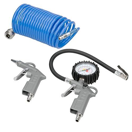 ECD Germany Druckluft Set 3 tlg Kompressoren-Zubehör 5 m Spiralschlauch Ausblaspistole Reifenfüllmesser mit Manometer