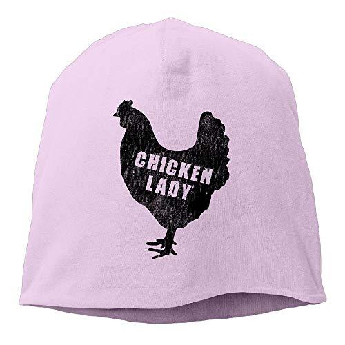 DHNKW Chicken Lady - Funny Farm Farmer Unisex Knit Hat Soft Stretch Beanies Skull Cap Hedging Cap Black Chunky Knit Visor Beanie