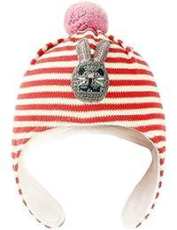 Happy cherry - Beanie Gorro Tejido de Algodón Forro Polar Knit Hat con  Orejeras para Niñas 0-4 Años con Pompom… 53255fa65c8