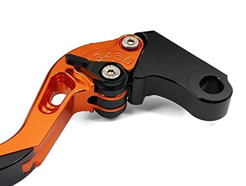 ITEX-255 Regolabile CNC allungabile Moto Leve Freno e Frizione per KTM 990 SMR SMT 2009-2012-Arancio
