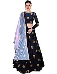 Dhruval Creation Women's Silk Semi-Stitched Lehenga Choli (All Over Blue_Blue_Free Size)