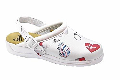 DIAN Pisa Estampado - Zapatos hospitalarios - Talla 35 - Blanco